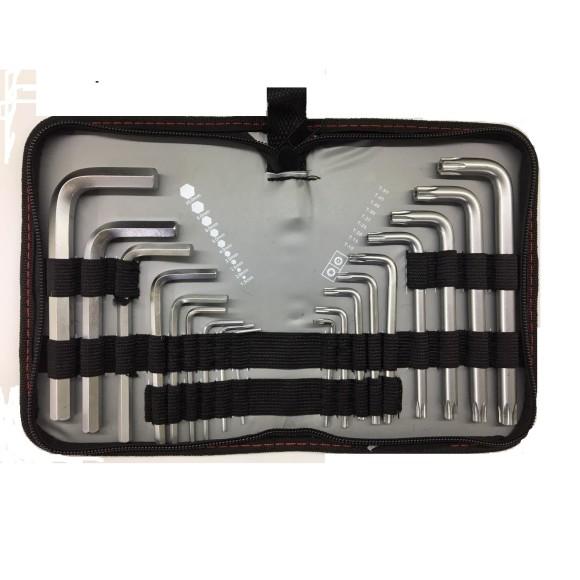 Jogo de Chave Cromo-Vanádium com Pontas Hexagonais – 1,5 mm à 10 mm e Torx –T-10 à T-50 -18 Peças - MTX