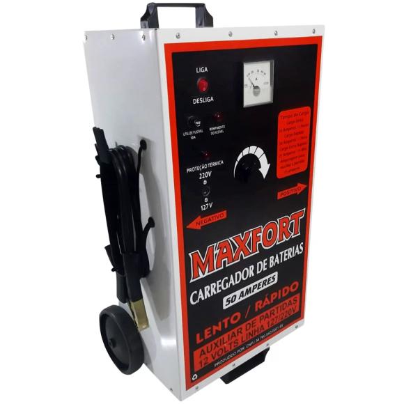 Carregador de Bateria 50A Bivolt com Auxiliar de Partida MX1  - Maxfort