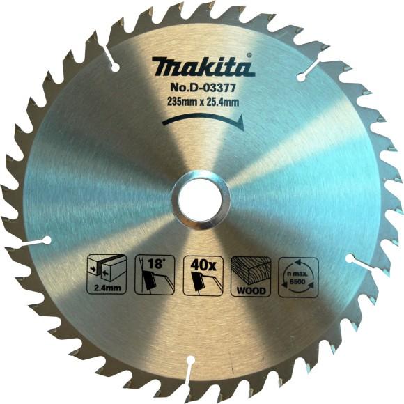 Disco de Serra Para Madeira 235x25.4mm 40 Dentes Makita -D-03377