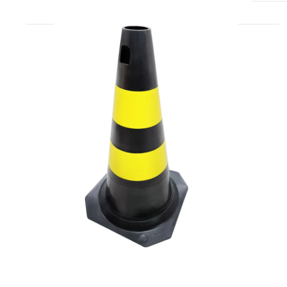 Cone PVC rígido PLT preto\amarelo 50cm para sinalização e segurança - Plastcor