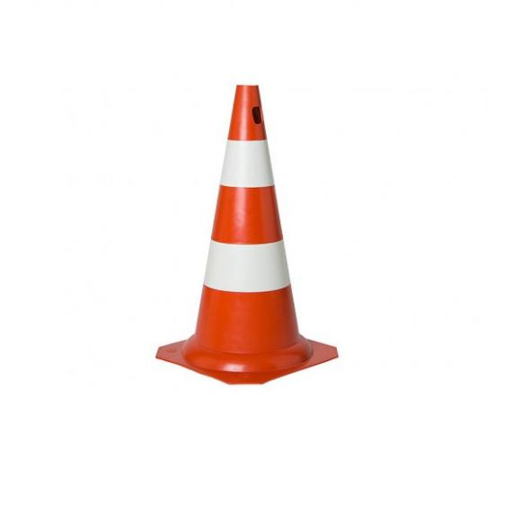 Cone PVC rígido PLT laranja e branco 50cm para sinalização e segurança - Plastcor