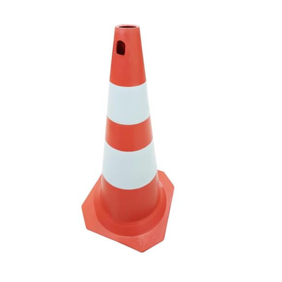 Cone PVC rígido FIT laranja e branco 75cm para sinalização e segurança - Plastcor