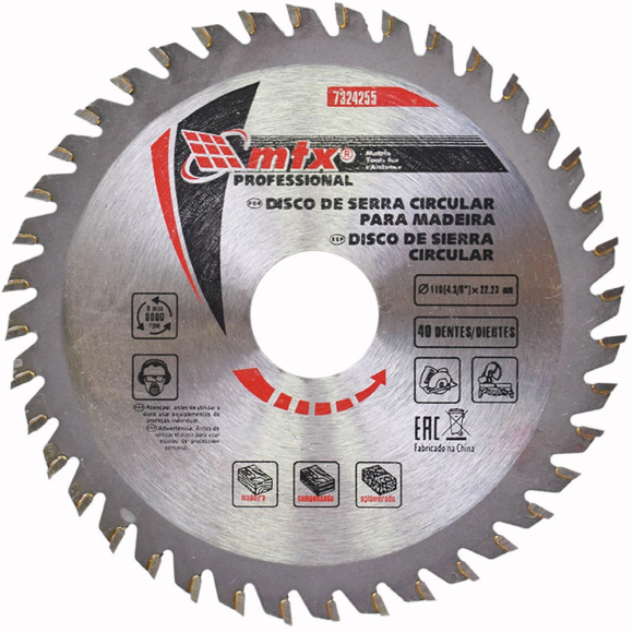 Disco de serra circular Widea 4/38 X 22,23 Mm 40 Dentes 7324255 - Mtx