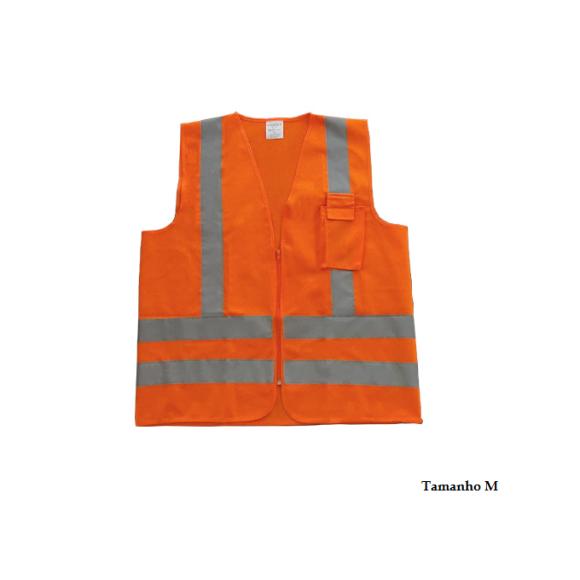 Colete refletivo tipo jaqueta com zíper e bolso Tamanho M PPS12 laranja neon - Proteplus