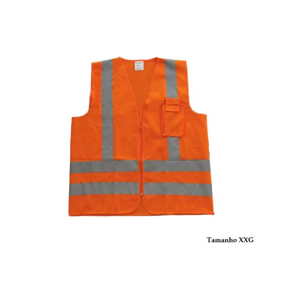 Colete refletivo tipo jaqueta com zíper e bolso Tamanho XXG PPS12 Laranja neon - Proteplus