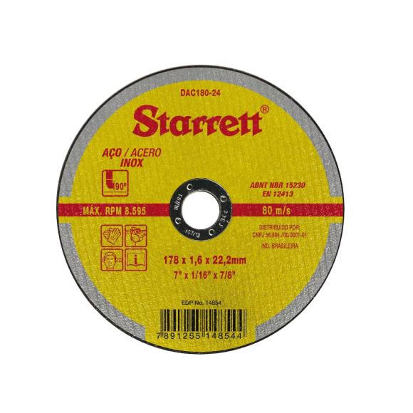 Disco Abrasivo de corte para aço/inox DAC180-24 - Starret