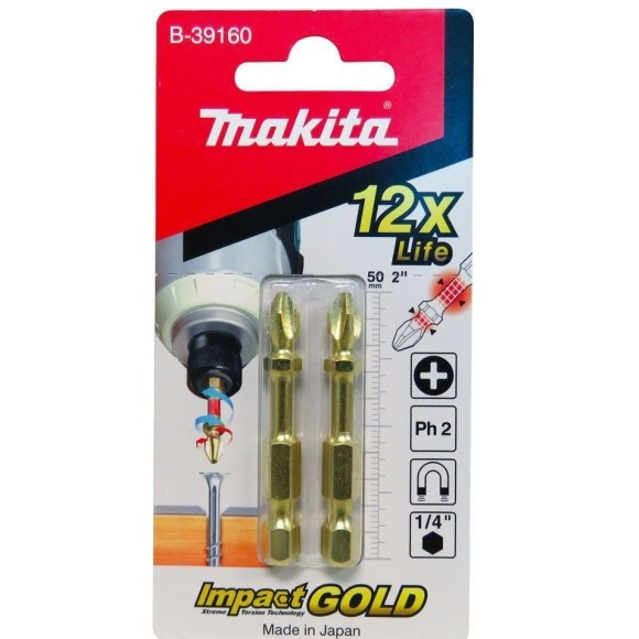 Ponta Bit de Torção PH2 C/02 Unidades Impact Gold 50mm B-39160 Makita