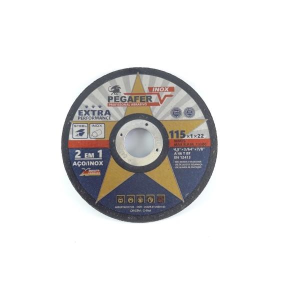 Disco de Corte Aço/Inox Pegafer 4.1/2 115x1.0 x 22.2mm - 80m/s