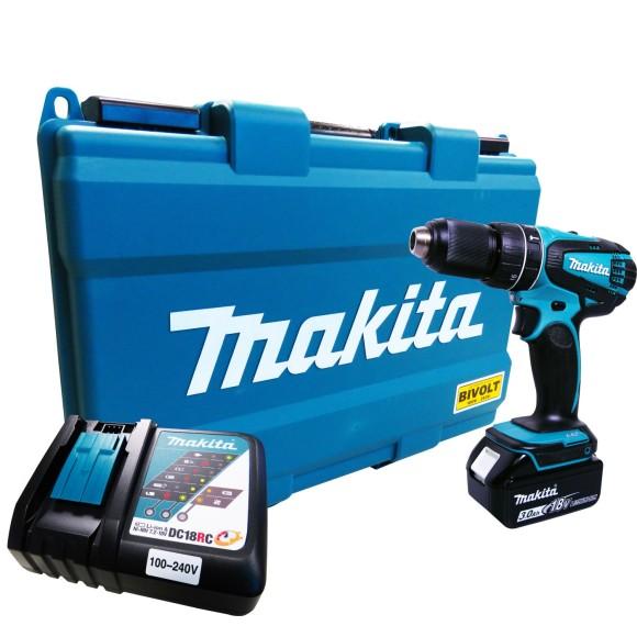 Parafusadeira e Furadeira de Impacto À Bateria 18V BIVOLT c/Maleta MAKITA - DHP456RF