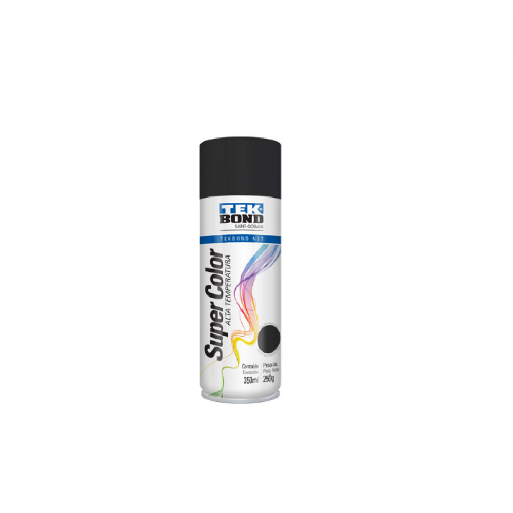 Tinta Spray Preto Fosco para Alta Temperatura de 350 ml Tekbond - 233.710.069.00