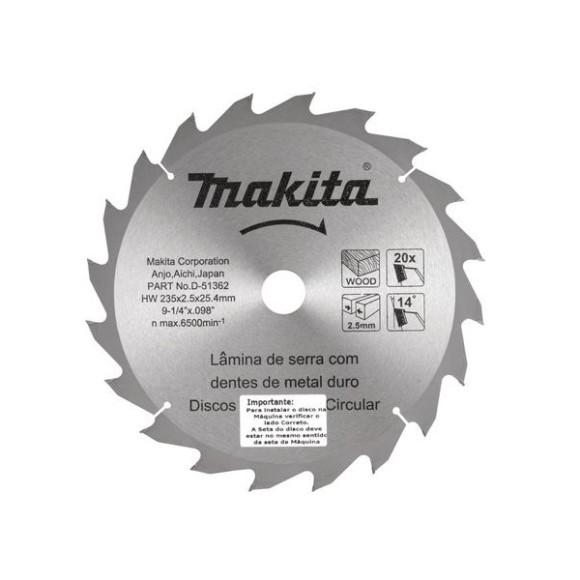 Disco de Serra Para Madeira 235mm x 25.4mm D-51362- Makita