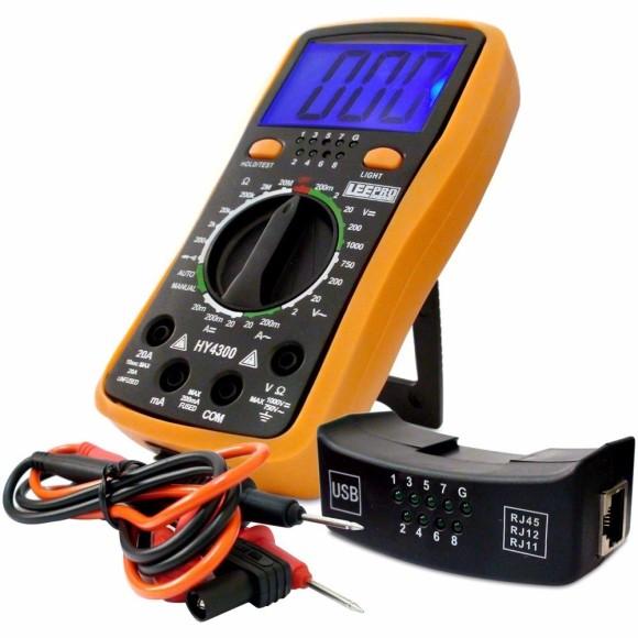 Multímetro Digital Com Teste de Rede e Usb HY4300 LEETOOLS - 601054